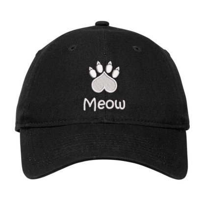 Meow Paw Embroidered Hat Adjustable Cap Designed By Madhatter
