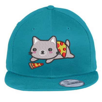 Cat With Pizza Embroidered Hat Flat Bill Snapback Cap Designed By Madhatter