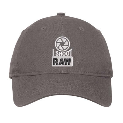 I Shoot Raw Embroidered Ha Adjustable Cap Designed By Madhatter