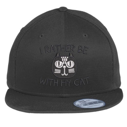 I Rather Be With Hy Cat Embroidered Hat Flat Bill Snapback Cap Designed By Madhatter
