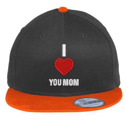 I Love You Mom Embroidered Hat Flat Bill Snapback Cap Designed By Madhatter