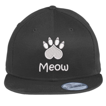 Meow Paw Embroidered Hat Flat Bill Snapback Cap Designed By Madhatter