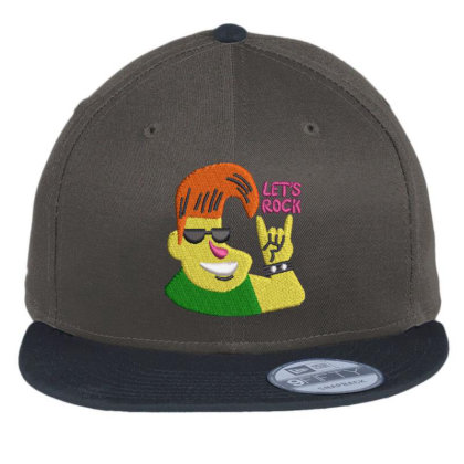Let's Rock Embroidered Hat Flat Bill Snapback Cap Designed By Madhatter