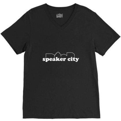 Speaker City V-neck Tee Designed By Nur456