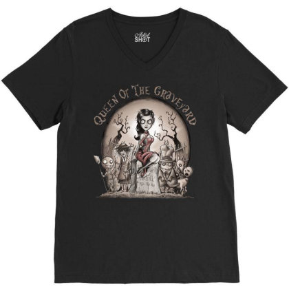 Queen Of The Graveyard V-neck Tee Designed By Saqman