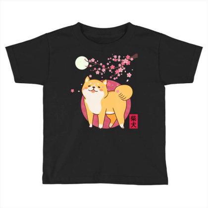 Akita Shiba Inu Dog Of Japan Cherry Blossom Moon Kanji Toddler T-shirt Designed By Hoainv