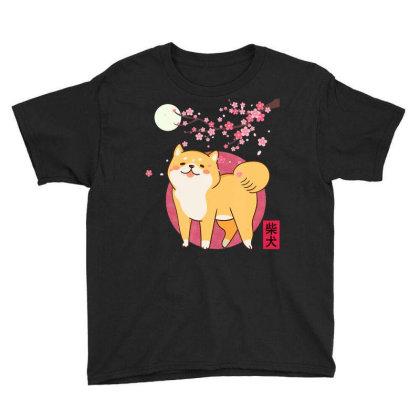 Akita Shiba Inu Dog Of Japan Cherry Blossom Moon Kanji Youth Tee Designed By Hoainv