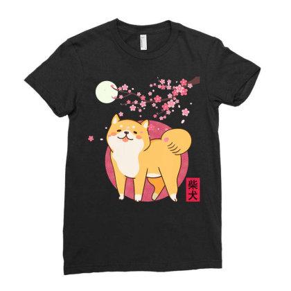 Akita Shiba Inu Dog Of Japan Cherry Blossom Moon Kanji Ladies Fitted T-shirt Designed By Hoainv