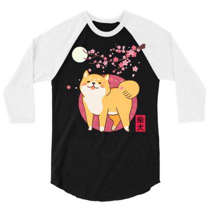 Akita Shiba Inu Dog Of Japan Cherry Blossom Moon Kanji 3/4 Sleeve Shirt Designed By Hoainv