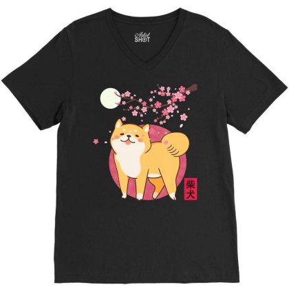 Akita Shiba Inu Dog Of Japan Cherry Blossom Moon Kanji V-neck Tee Designed By Hoainv
