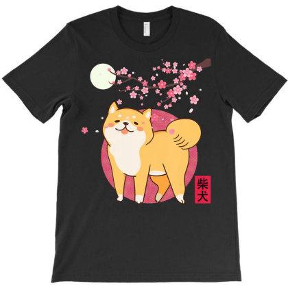 Akita Shiba Inu Dog Of Japan Cherry Blossom Moon Kanji T-shirt Designed By Hoainv