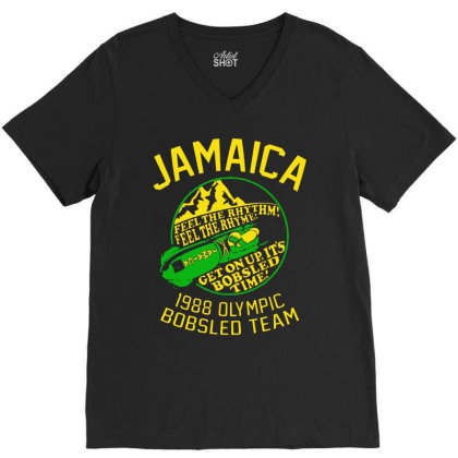 Jamaica 1988 Olympic Bobsled Team V-neck Tee Designed By Bull Tees