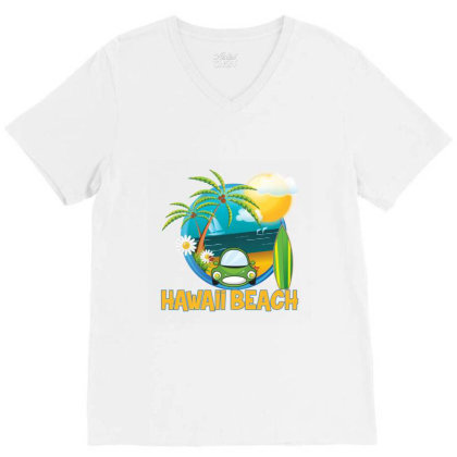 Hawaii Beach Surfing All Day V-neck Tee Designed By Quickpick09