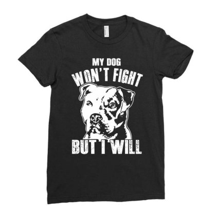 Pitbull Don't Fight Funny Dog Lover Shirt Ladies Fitted T-shirt Designed By Hoainv