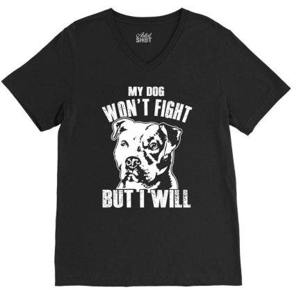 Pitbull Don't Fight Funny Dog Lover Shirt V-neck Tee Designed By Hoainv
