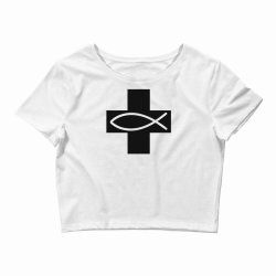 cross and fish christian symbol funny Crop Top | Artistshot