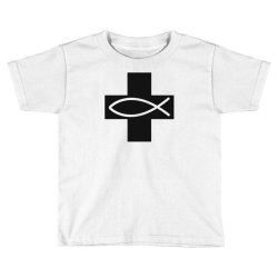 cross and fish christian symbol funny Toddler T-shirt | Artistshot