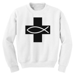 cross and fish christian symbol funny Youth Sweatshirt | Artistshot