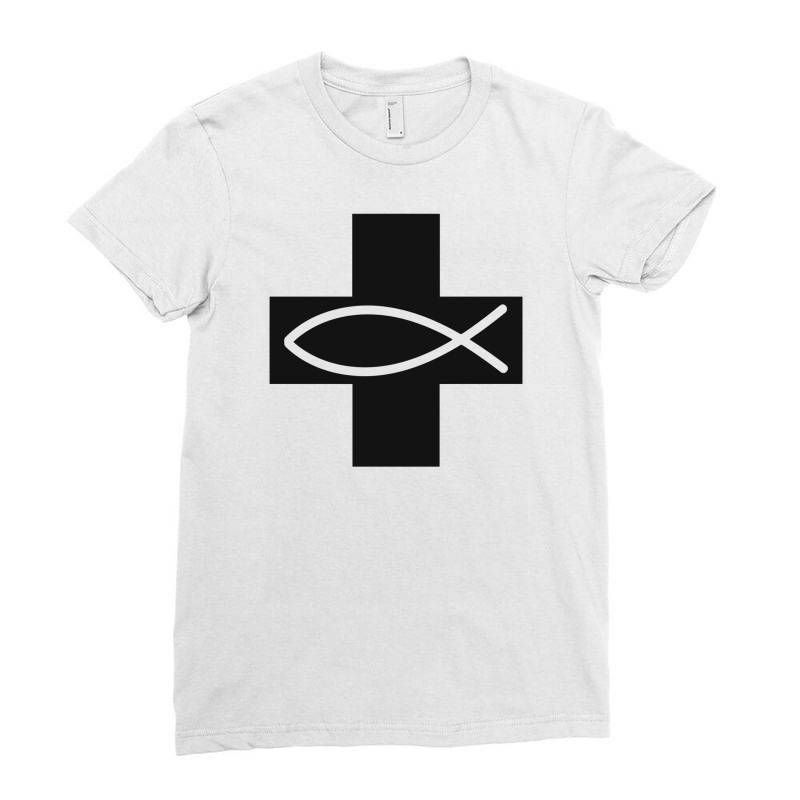 Cross And Fish Christian Symbol Funny Ladies Fitted T-shirt | Artistshot