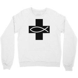 cross and fish christian symbol funny Crewneck Sweatshirt   Artistshot