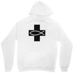 cross and fish christian symbol funny Unisex Hoodie | Artistshot