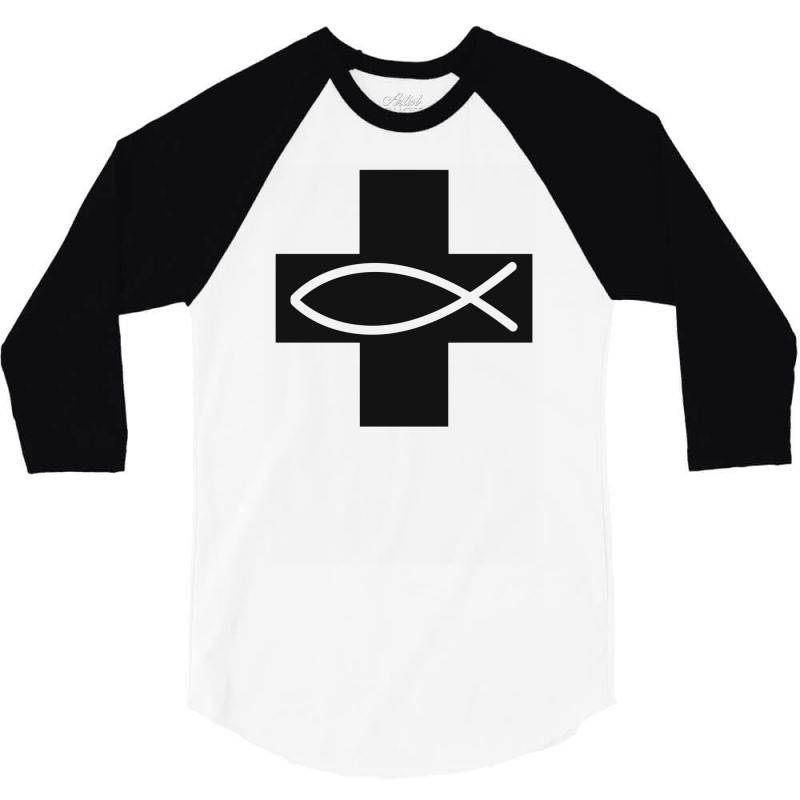 Cross And Fish Christian Symbol Funny 3/4 Sleeve Shirt | Artistshot