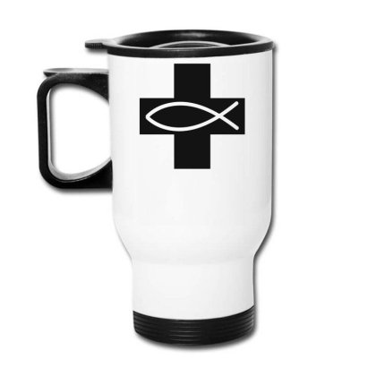 Cross And Fish Christian Symbol Funny Travel Mug Designed By Erishirt