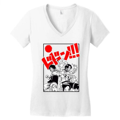 Luffy And Ace Women's V-neck T-shirt Designed By Paísdelasmáquinas