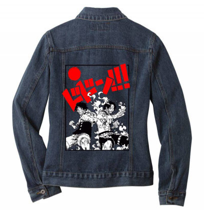 Luffy And Ace Ladies Denim Jacket Designed By Paísdelasmáquinas