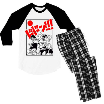 Luffy And Ace Men's 3/4 Sleeve Pajama Set Designed By Paísdelasmáquinas