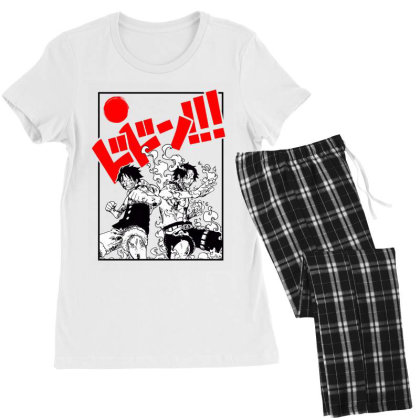 Luffy And Ace Women's Pajamas Set Designed By Paísdelasmáquinas