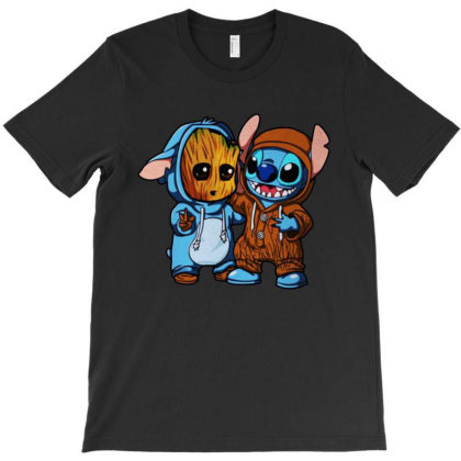 Stitch And Baby Groot Movies T-shirt Designed By Azura Store