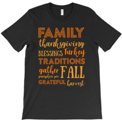 Family Thanksgiving Blessings Turkey T Shirt T-shirt Designed By Gnuh79