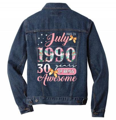 Made In July 1990 30 Years Of Being Awesome Men Denim Jacket Designed By Badaudesign