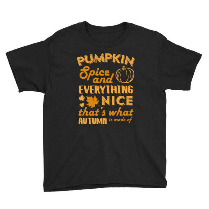 Pumpkin Spice And Everything Nice T Shirt Youth Tee Designed By Gnuh79