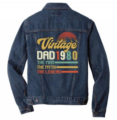Vintage Dad 1980 The Man The Myth The Legend Men Denim Jacket Designed By Badaudesign