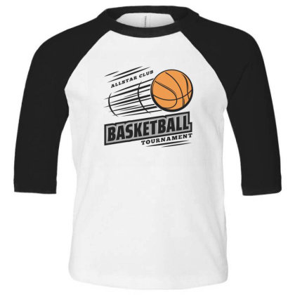 Basketball Toddler 3/4 Sleeve Tee Designed By Disgus_thing