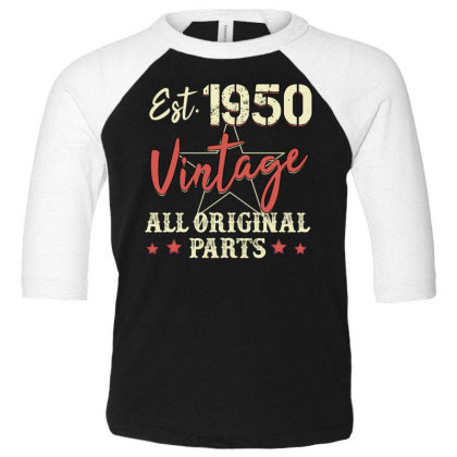 Est.1950 Vintage All Original Parts Toddler 3/4 Sleeve Tee Designed By Badaudesign