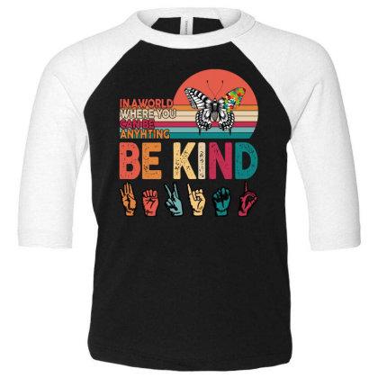 Autism Awareness Be Kind Toddler 3/4 Sleeve Tee Designed By Badaudesign