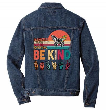 Autism Awareness Be Kind Men Denim Jacket Designed By Badaudesign