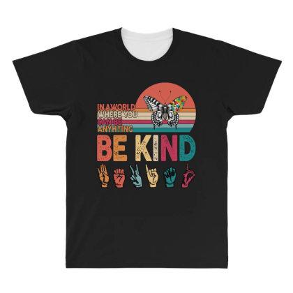 Autism Awareness Be Kind All Over Men's T-shirt Designed By Badaudesign