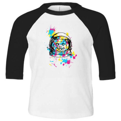Astronaut Cat Toddler 3/4 Sleeve Tee Designed By Chiks