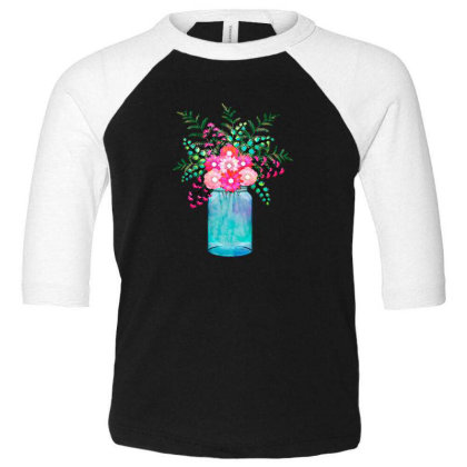 Flower Bouquet Toddler 3/4 Sleeve Tee Designed By Chiks