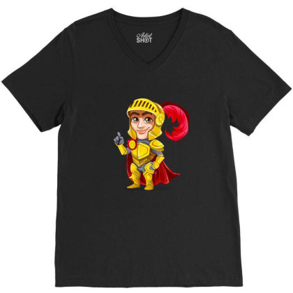 Knight Vector Art V-neck Tee Designed By Chiks