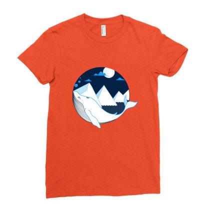 Whale Illustration Ladies Fitted T-shirt Designed By Sayli