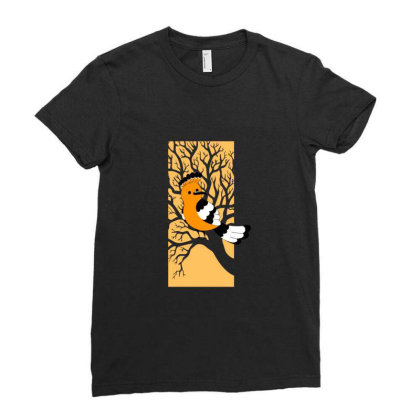 Woodcutter Bird Illustration Ladies Fitted T-shirt Designed By Alankar Shinde