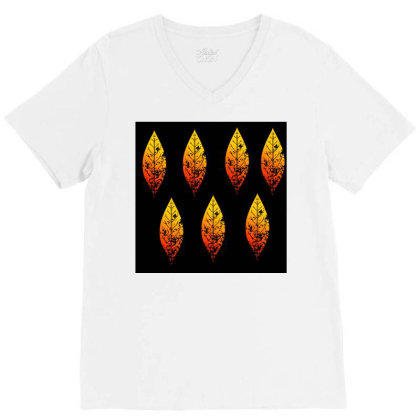 Colourful Leaf Pattern V-neck Tee Designed By American Choice