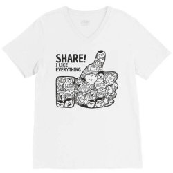 like social media share V-Neck Tee | Artistshot