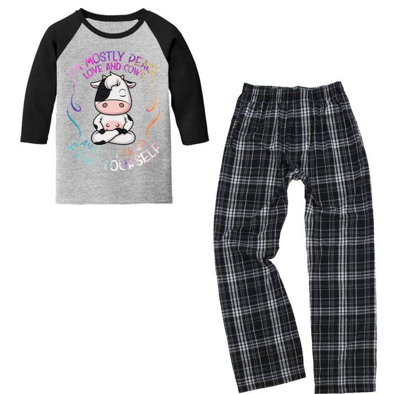I M Mostly Peace Love And Cows Youth 3/4 Sleeve Pajama Set | Artistshot