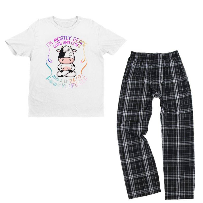 I M Mostly Peace Love And Cows Youth T-shirt Pajama Set   Artistshot